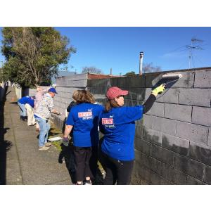 "Working with BNZ staff painting out grafitti, for their ""Closed for Good"" - 2017"